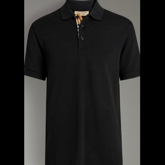 Burberry Shirts   Check Placket Cotton Polo Shirt   Poshmark 4b777b60177c
